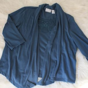 alfred dunner  size Petite Large Blouse cardigan